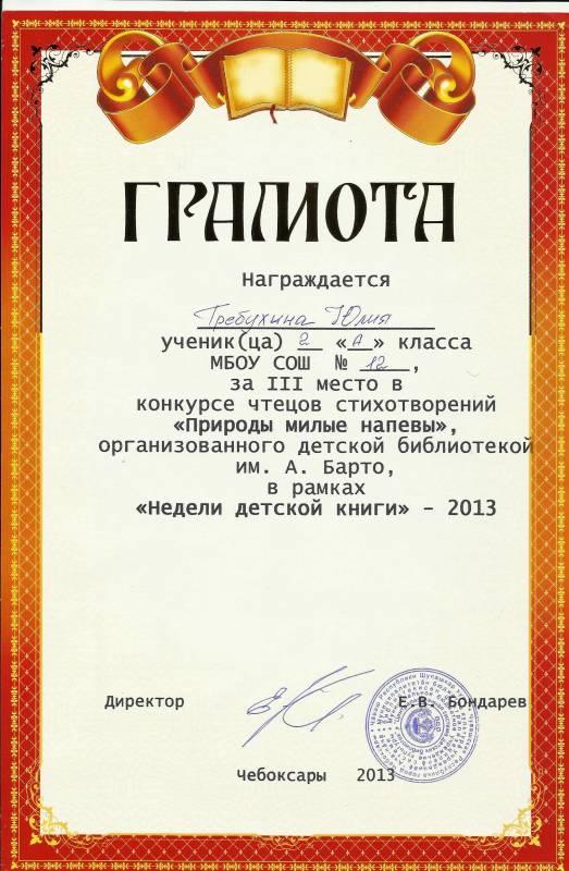 Подпись грамот ученикам в конкурсе рисунков