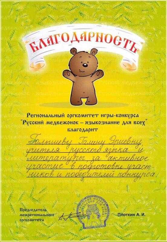 Результаты конкурса русский медвежонок 2017 год