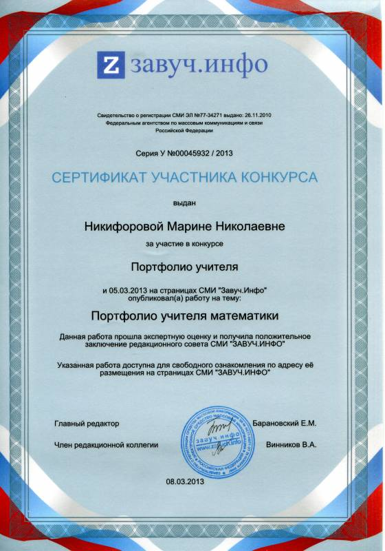 Бланк регистрации участников конкурса